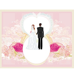 Wedding invitation card with a cute couple vector