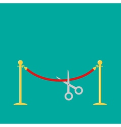 Scissors cutting red rope golden barrier stanchion vector