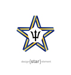Star with flag of barbados colors and symbols vector