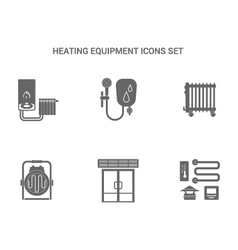 Heating equipment icons vector