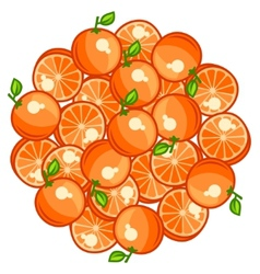 Background design with stylized fresh ripe oranges vector