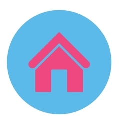 Home flat pink and blue colors round button vector