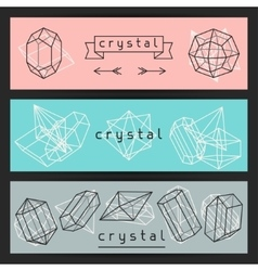 Abstract banners with geometric crystals and vector