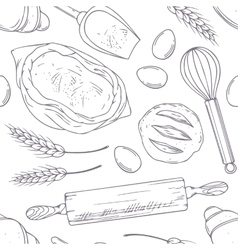 Seamless pattern with hand drawn bakery oblects in vector