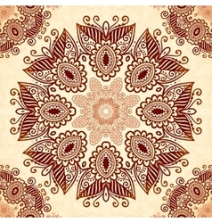 Vintage round seamless pattern in indian mehndi vector