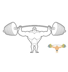 Athlete barbell coloring book bodybuilder harvests vector