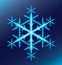 Blue six-pointed snowflake on a blue background vector