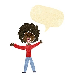 Cartoon woman shouting with speech bubble vector