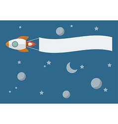 Rocket with banner vector
