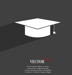 Graduation cap symbol flat modern web design with vector