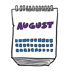 Freehand drawn cartoon calendar showing month of vector