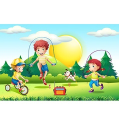 Kids jumping rope in the park vector