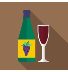 Bottle of wine icon flat style vector