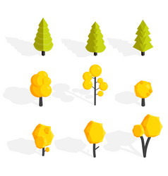 Autumn trees set low poly vector