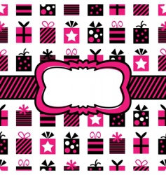 Black and pink gift wrapping vector