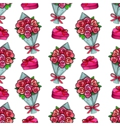 Bouquet and gift box seamless pattern vector