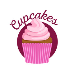 Cupcake with pink sweet cream vector