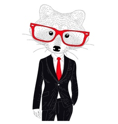 Cute cheerful fashion raccoon in suit hand drawn vector
