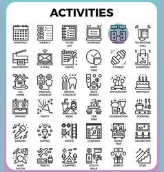 Daily activities concept detailed line icons vector