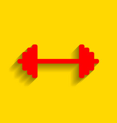 dumbbell weights sign red icon with soft vector image vector image