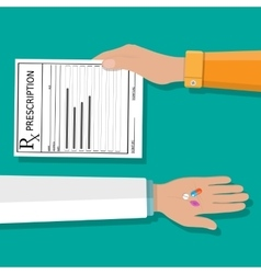 hand holds prescription rx form and pills vector image vector image