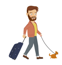 Hipster man walking with suitcase and dog vector