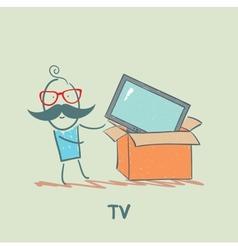 man bought a TV vector image vector image