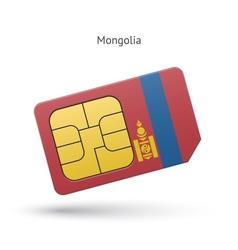 Mongolia mobile phone sim card with flag vector