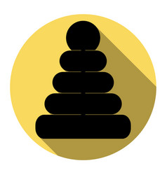 Pyramid sign flat black icon vector