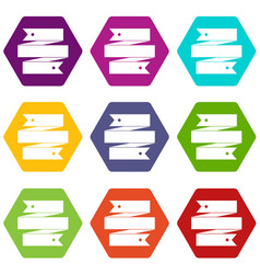 ribbon banner icon set color hexahedron vector image
