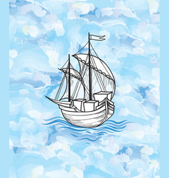 Sailing ship over ocean waves background sail vector