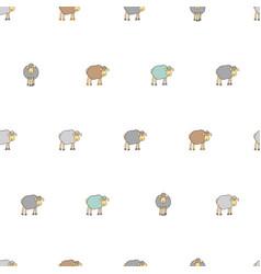 Seamless pattern with cartoon sheep vector