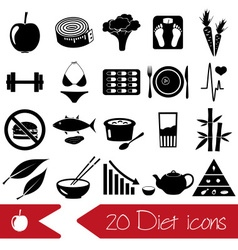 Set of diet and healthy life style theme black vector