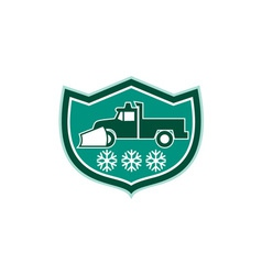Snow Plow Truck Snowflakes Shield Retro vector image