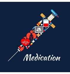 Syringe symbol of medical tools medications items vector image vector image