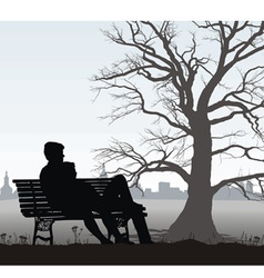 The young man and girl on bench vector image vector image