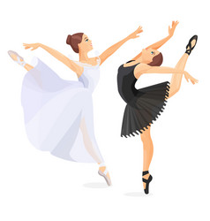 Three young ballet dancers standing in pose flat vector
