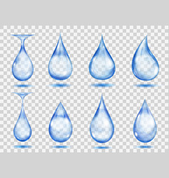 transparent blue drops vector image vector image