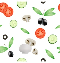 Vegetable Seamless Pattern With Tomato Cucumber vector image