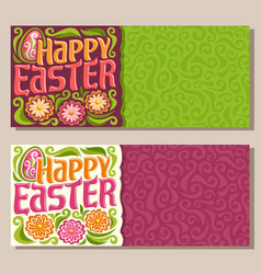 Banners for happy easter holiday vector