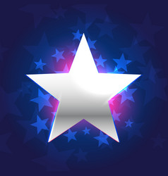 Silver star in blue background vector