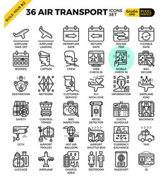 Air transport travel outline icons vector
