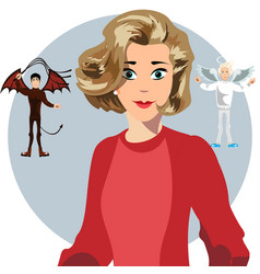 angel and devil hovering over a thinking woman vector image