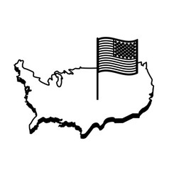 country outline flag united states usa icon image vector image