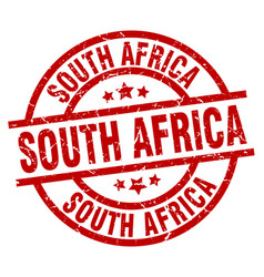 South africa red round grunge stamp vector
