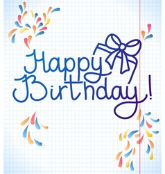 Happy birthday card design school paper vector