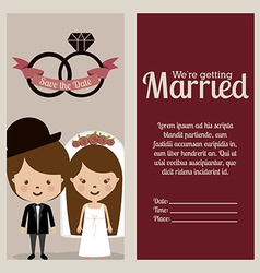 Wedding design over beige background vector image