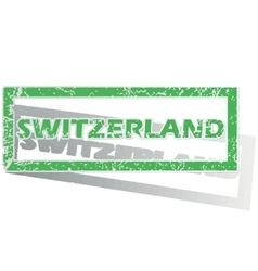 Green outlined swtizerland stamp vector