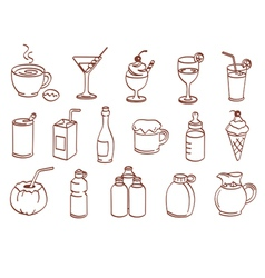 Beverage related icon set vector