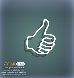 Like sign icon thumb up symbol hand finger-up on vector